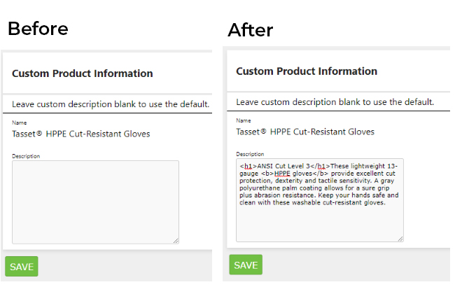 Custom Product Description Before After HTML